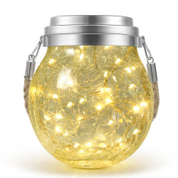LED decorativa al aire libre colgantes de cristal de la Grieta que deseen Cuento de Navidad Tarro Solar lámpara de luz para la valla del patio jardín vacaciones