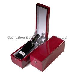 단 하나 병을%s 제조자에 의하여 주문을 받아서 만들어지는 호화스러운 피아노 광택 있는 그려진 래커 단단한 빨간 목제 포도주 저장 케이스 상자