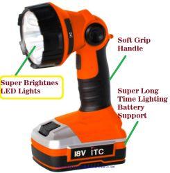 18V 최대 힘 리튬 이온 건전지 코드가 없는 토치 - 작동 빛