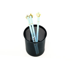 M&G Papelería Epoxy-Coated negro metálico de malla de alambre titular de la pluma redonda