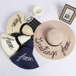 Широкие края женщин оптовой Custom летом пляж Сан дисковод гибких бумаги Red Hat соломы