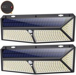 Las luces solares de piscina 288 LED con sensor de movimiento Solar cargador USB de luces de seguridad resistente al agua con 3 modos de pared de luz solar