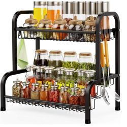 Support de stockage de cuisine Spice Rack avec crochets métalliques 3 Tier