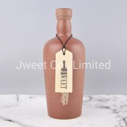Ronda de venta al por mayor de la fábrica de cerámica 500ml botella de whisky de superficie rugosa