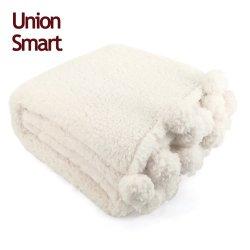 極度の柔らかさ2の秋および冬のPOM Pomsの側面のテディー・ベアの羊毛のSherpaの赤ん坊毛布