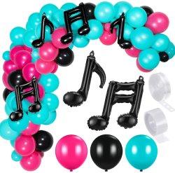 141 قطعة موسيقى بالون عيد ميلاد البالون غرلاند كيت مع روز أحمر أسود أزرق لاتكس بالون موسيقى ملاحظة رقاقة معدنية بالون ل موسيقى عيد ميلاد حفلة زخرفة