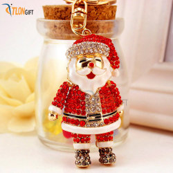 Populaires Diamond-Inlaid Belle Gold-Imitation métal Santa Claus chaîne de clés