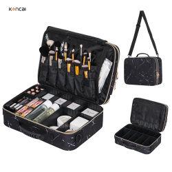 Koncai 特許の化粧ケース二層調節可能なプラスチックディバイダーは移動する Box ポータブルメイクアップオーガナイザーバッグ