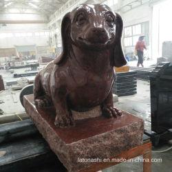 Poli statue de granit rouge indien chiot