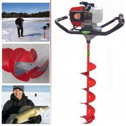 2-Gaz 2.8HP 60cc du cycle de la pêche de la glace de la glace de foret alimenté Foreur de la glace de la glace de vis sans fin de la terre gelée de vis de vidange Borer