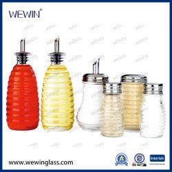 زجاجة خزن زجاجي سعة 6 زجاجات مع مجموعة التوابل الصينية أدوات المطبخ المصنوعة من الفولاذ المقاوم للصدأ غطاء أدوات زجاجية دورق التوابل والرضّاعة
