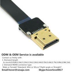 Xaja Consumer Electronics Câble HDMI haute vitesse plat 4k x 2K 19 broches de câble HDMI plaqué or 2,0 m/m pour la 3D HDTV