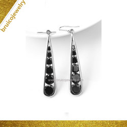 Ювелирные изделия драгоценными камнями черный оникс валик клея 925 серебристые белый цвет в раскрывающемся списке Earring для женщин