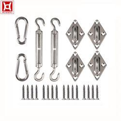シェードサンレール長方形および正方形サンシェード用ハードウェアキット セイル・インストレーション・シルバー(ねじ付き