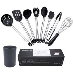 Conjunto de Herramientas de silicona soporte de acero inoxidable Accesorios utensilio Setkitchen