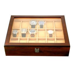 Contenitore di vigilanza di legno di vigilanza delle 18 scanalature del contenitore della vigilanza di visualizzazione di caso dell'organizzatore dei monili di memoria del supporto della visualizzazione di vetro di legno del fornitore