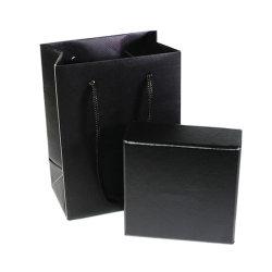 Hechos a mano negra brillante papel con textura Logotipo personalizado relleno de espuma de embalaje Caja de regalo de joyas de perlas de almacenamiento de productos cosméticos con una pequeña bolsa de papel