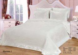 Usine pur luxe blanc satiné courtepointe Ensemble de literie de la Dentelle de couvre-lits Queen Size