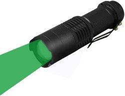 Luz verde Mini Linterna LED impermeable Penlight Zoom de la Linterna Foco ajustable