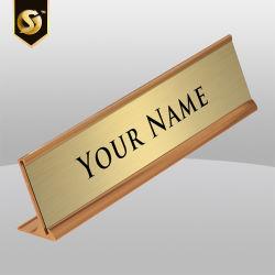 금 은에 의하여 솔질되는 금속 홀더 10 인치 유명한 격판덮개 책상 레이블