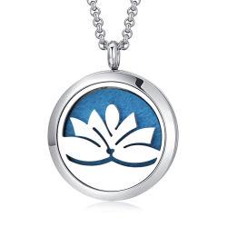 Custom цветок лотоса с маркировкой ожерелья ювелирные изделия 316L нержавеющая сталь эфирного масла диффузор Ароматерапия пульта управления