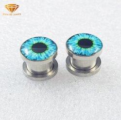 Bijoux en acier inoxydable noir Eyeball yeux oreille Expander Piercing oreille plug Body Piercing bijoux2734 SPG