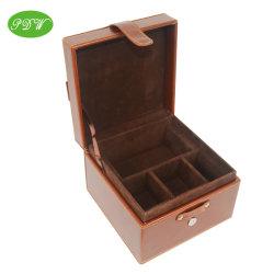 Ювелирные изделия из кожи для хранения дисплей подарочная упаковка с бархатным лоток