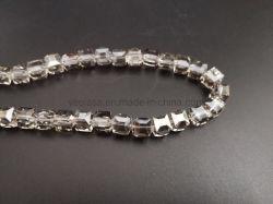Verre en cristal transparent rond Carré de Perles pour les brins de rideau