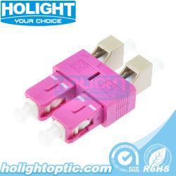 Duplex óptica híbrido tipo OM4 LC fêmea para Sc Adaptador Macho