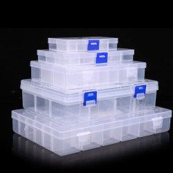 10 Grille coffret à bijoux en plastique transparent de conteneur de stockage de l'organiseur avec séparateurs réglables pour les perles, des bijoux, de petites pièces