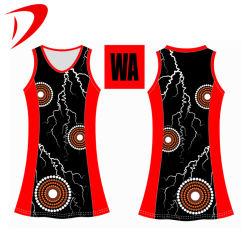 Diseño personalizado de las mujeres de color negro de Netball Jersey vestidos de uniforme de Netball