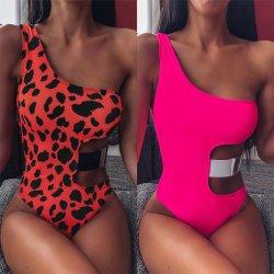 2020 nieuwe Sexy zwemkleding Leopard Print One Shoulder One-Pieces for Woelie