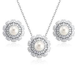 Flores al por mayor Collar de perlas Pendientes joyería de plata conjunto