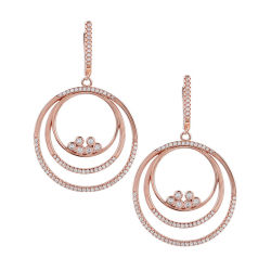 Nouveau design avec Set Mode bijoux en or rose 925 Sterling Silver Round Shape Earrings