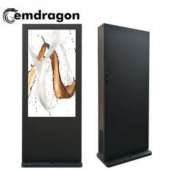 Le Climatiseur vertical de la publicité extérieure de la machine au sol de l'écran 65 pouces Kiosque tactile-de-chaussée de la publicité permanente de l'écran support sans fil d'affichage interactif