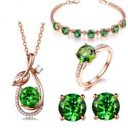 Nano Gemstone の宝石類セット 925 のスターリング銀の婚約の宝石類セット