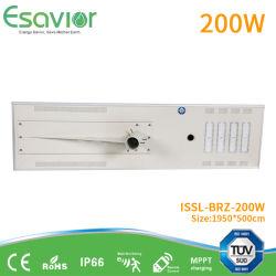 Высота установки 10-12 метров в высоту светового эффективности 195lm/W 200W все в один светодиод солнечного освещения улиц комплексной дороги на открытом воздухе солнечной светодиодный светильник