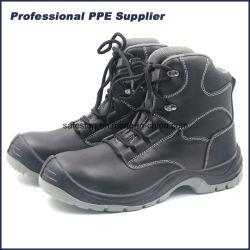 Escenas de acción de corte alto Cuero negro Zapato de seguridad de acero