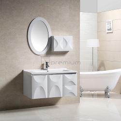 흰색 현대식 PVC 벽면 훙캐비닛 베이슨 욕실 가구