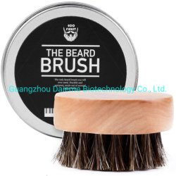 Beard Balms & Oil에 완벽한 남성용 턱수염 브러시 둥근 목재 핸들 천연 소프트 호스 헤어 브러쉬 솔의 스타일링