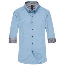Hülsen-Baumwollhemd 100% der Männer beiläufiges langes (WXM123)
