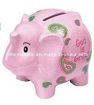 Caja de monedas de elefante, el elefante rosado Banco dinero