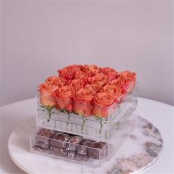 引出しが付いているカスタマイズされた16ローズの花ボックスアクリルの花のパッケージ