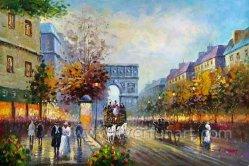 卸し売り壁の芸術のパリの通りの油絵(EPS-036)