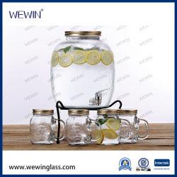 クリアチャイナホールセール水ディスペンサーガラスウォーターボトル冷水 ボトルウォーターケトルウォーターポットウォーター Jug アイアンスタンド ガラスコップのガラス鍋 - Kettle のガラス Jug