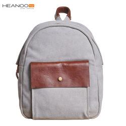 Kundenspezifischer Entwerfer-Form-Segeltuch-Rucksack für Jugendlichen mit Leder