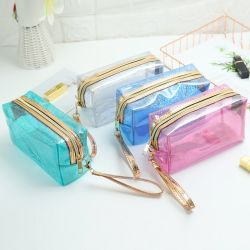 PVC装飾的な袋、卸し売り方法エヴァの透過ビニールプラスチック女性の構成の袋のクラッチ携帯用旅行洗面用品のジッパーの記憶のパッキングトートバック