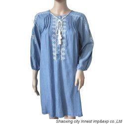 Lavagem de roupa de algodão 100% Casual Jeans Senhoras vestido com bordados