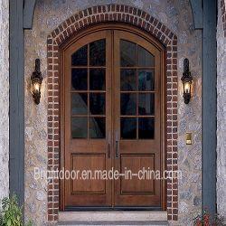 Estilo clássico duplo arco interno da porta de madeira maciça