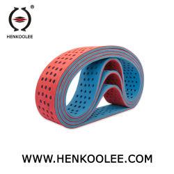 Recto-verso personnalisé bleu Ajouter caoutchouc rouge infinies de Base en nylon avec trou de boxe de courroie plate